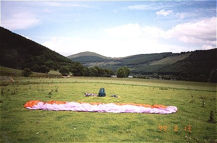 Pete's glider at rest - Tor-Y-Foel in the distance